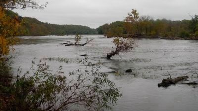 The Potomac River - relatively calm water above the Great Falls and the old canal ditchl image. Click for full size.