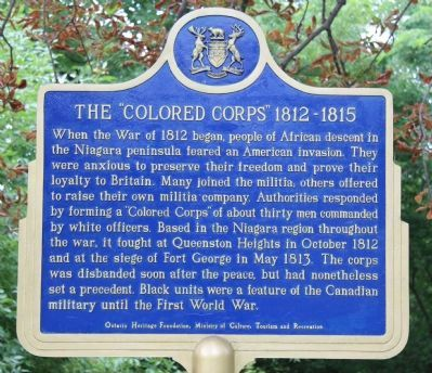 "The ""Colored Corps"" 1812 - 1815 Marker image. Click for full size."