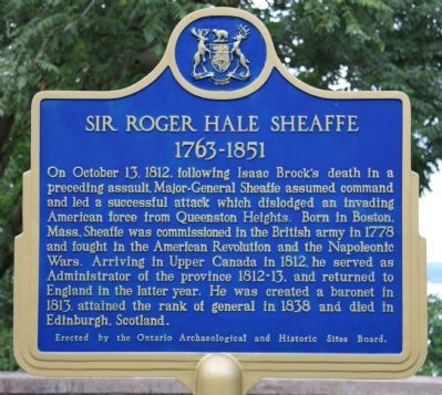 Sir Roger Hale Sheaffe Marker image. Click for full size.