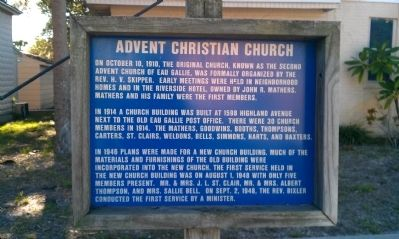 Advent Christian Church Marker image. Click for full size.