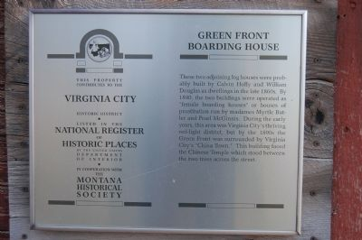 Green Front Boarding House Marker image. Click for full size.