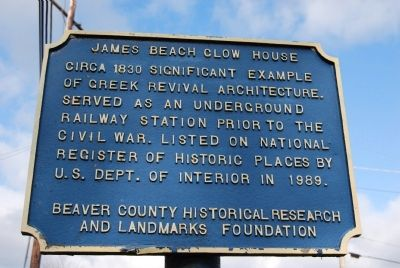 James Beach Clow House Marker image. Click for full size.