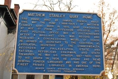 Matthew Stanley Quay Home Marker image. Click for full size.