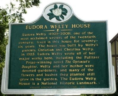 Eudora Welty House Marker image. Click for full size.