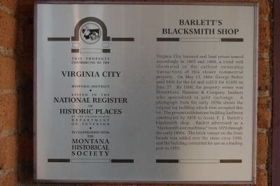 Barlett's Blacksmith Shop Marker image. Click for full size.
