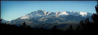 View of Pikes Peak, from Woodland Park image. Click for full size.