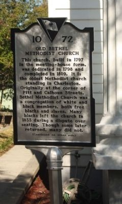 Old Bethel Methodist Church Marker image. Click for full size.