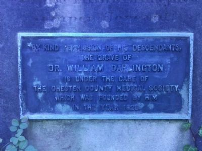 William Darlington M.D. Grave Plaque image. Click for full size.