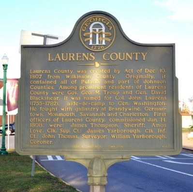 Laurens County Marker image. Click for full size.