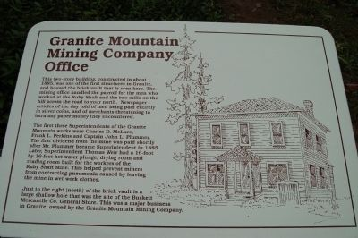 Granite Mountain Mining Company Office Marker image. Click for full size.