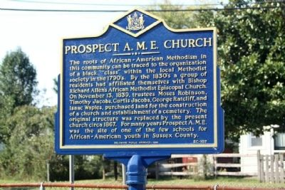 Prospect A.M.E. Church Marker image. Click for full size.
