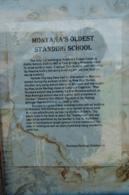 Montana's Oldest Standing School Marker image. Click for full size.