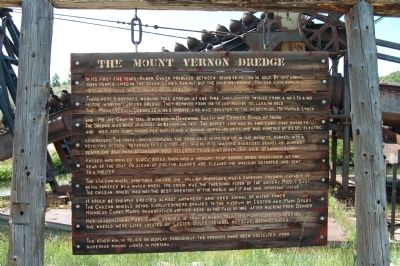The Mount Vernon Dredge Marker image. Click for full size.