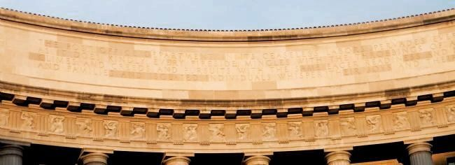 Inscription above the frieze, center, west side entablature: image. Click for full size.