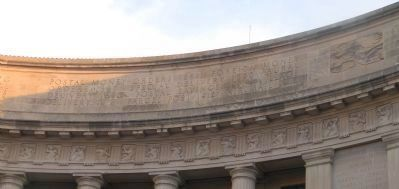 Inscription above the frieze, south end, west side entablature image. Click for full size.