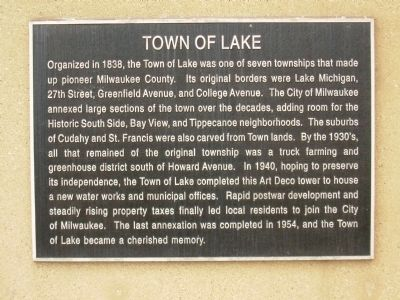 Town of Lake Marker image. Click for full size.