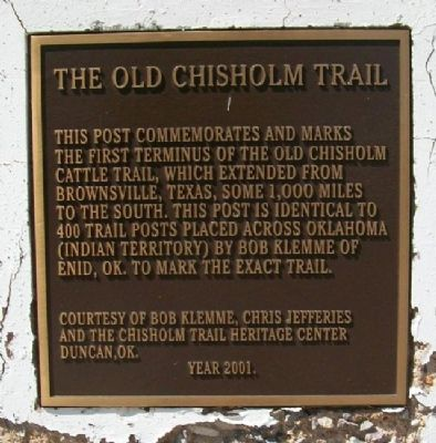 The Old Chisholm Trail Marker image. Click for full size.