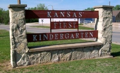 Kansas' First Kindergarten Marker image. Click for full size.