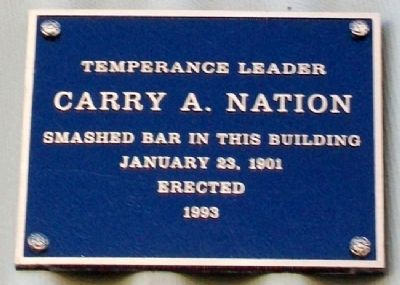 Carry A. Nation Marker image. Click for full size.