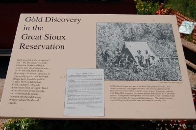 Gold Discovery in the Great Sioux Reservation Marker image. Click for full size.