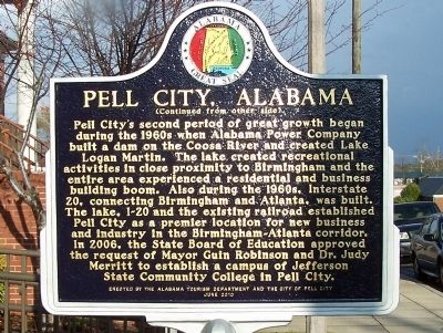 Pell City, Alabama Marker, side B image. Click for full size.