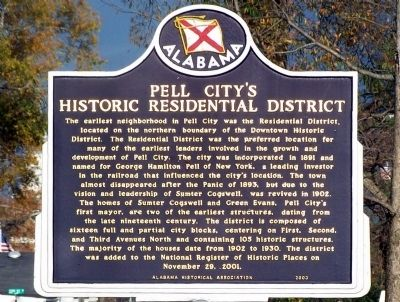 Pell City's Historical Residential District Marker image. Click for full size.