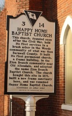 Happy Home Baptist Church Marker image. Click for full size.