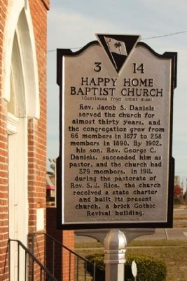 Happy Home Baptist Church Marker, reverse side image. Click for full size.