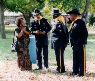 Elenora L. Burton with Buffalo Soldier Re-Enactors image. Click for full size.