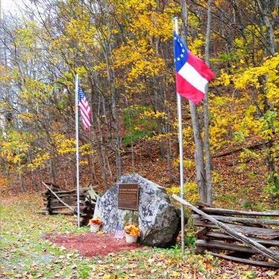 """Battle of Riverton"" Marker with Flags image. Click for full size."