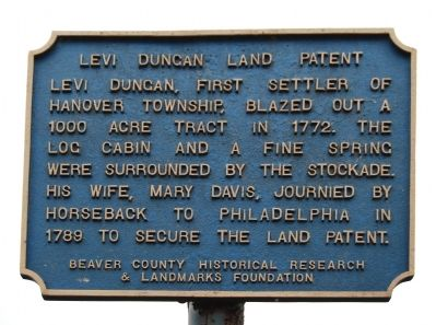 Levi Dungan Land Patent Marker image. Click for full size.