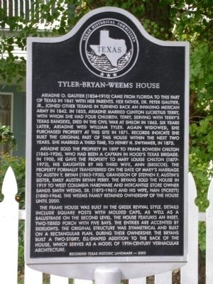 Tyler-Bryan-Weems House Marker image. Click for full size.
