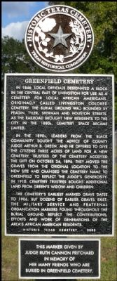 Greenfield Cemetery Marker image. Click for full size.