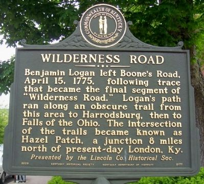 Wilderness Road Side of the Marker image. Click for full size.
