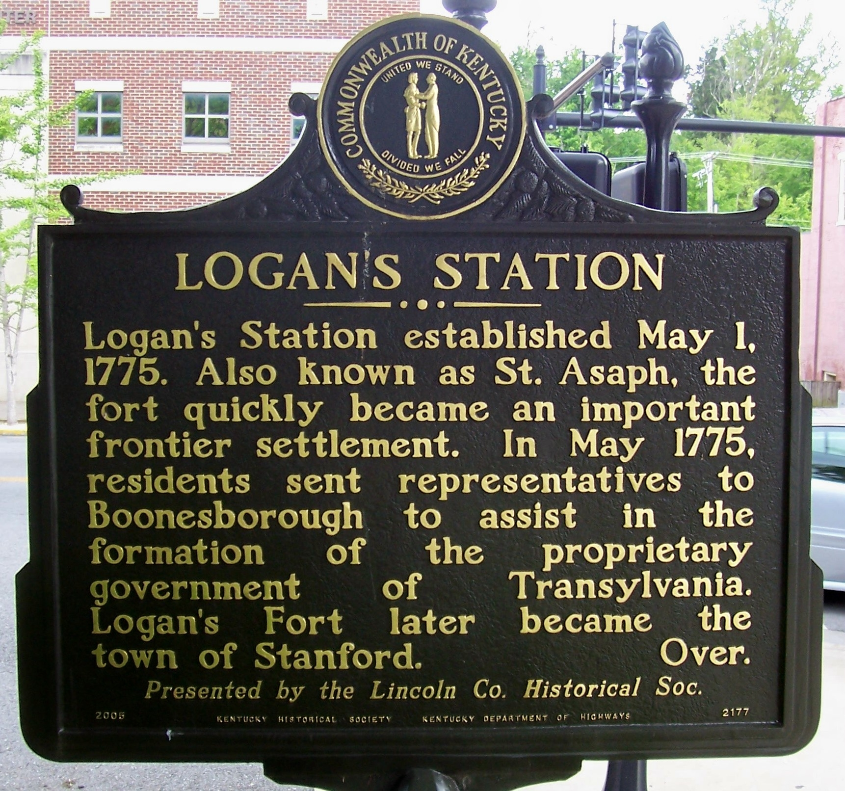 Logan's Station Side of the Marker