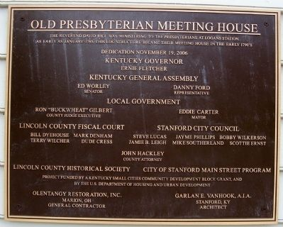 Old Presbyterian Meeting House plaque image. Click for full size.
