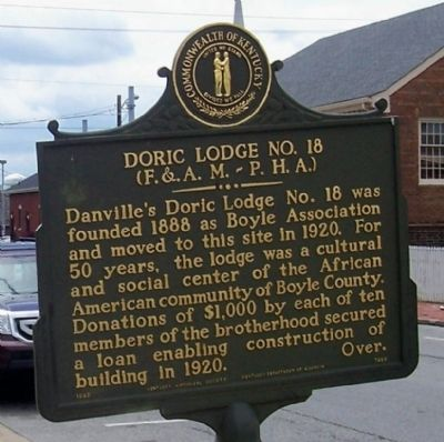 Doric Lodge No. 18 (F. & A.M.-P.H.A.) Marker side of the marker image. Click for full size.