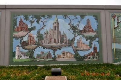 Paducah architecture reflected the settlers' different religious faiths. Marker image. Click for full size.