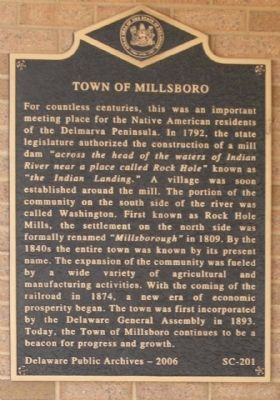 Town of Millsboro Marker image. Click for full size.