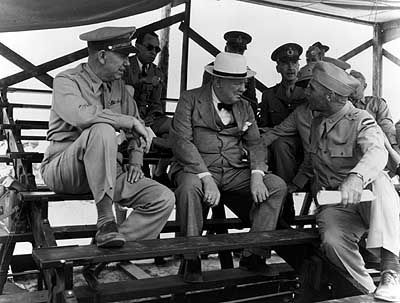 Gen. Lee, British Prime Minister Winston Churchill and US Army Chief of Staff George C. Marshall image. Click for full size.