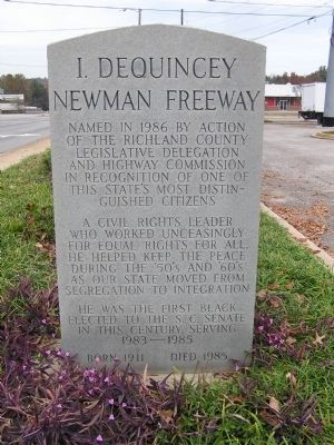 I. DeQuincey Newman Freeway Marker image. Click for full size.
