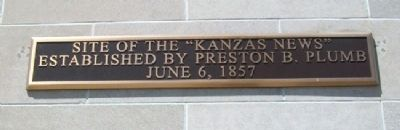 "Site of the ""Kanzas News"" Marker image. Click for full size."