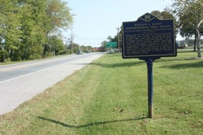 William C. Jason Comprehensive High School Marker, looking eastward along Seashore Highway image. Click for full size.