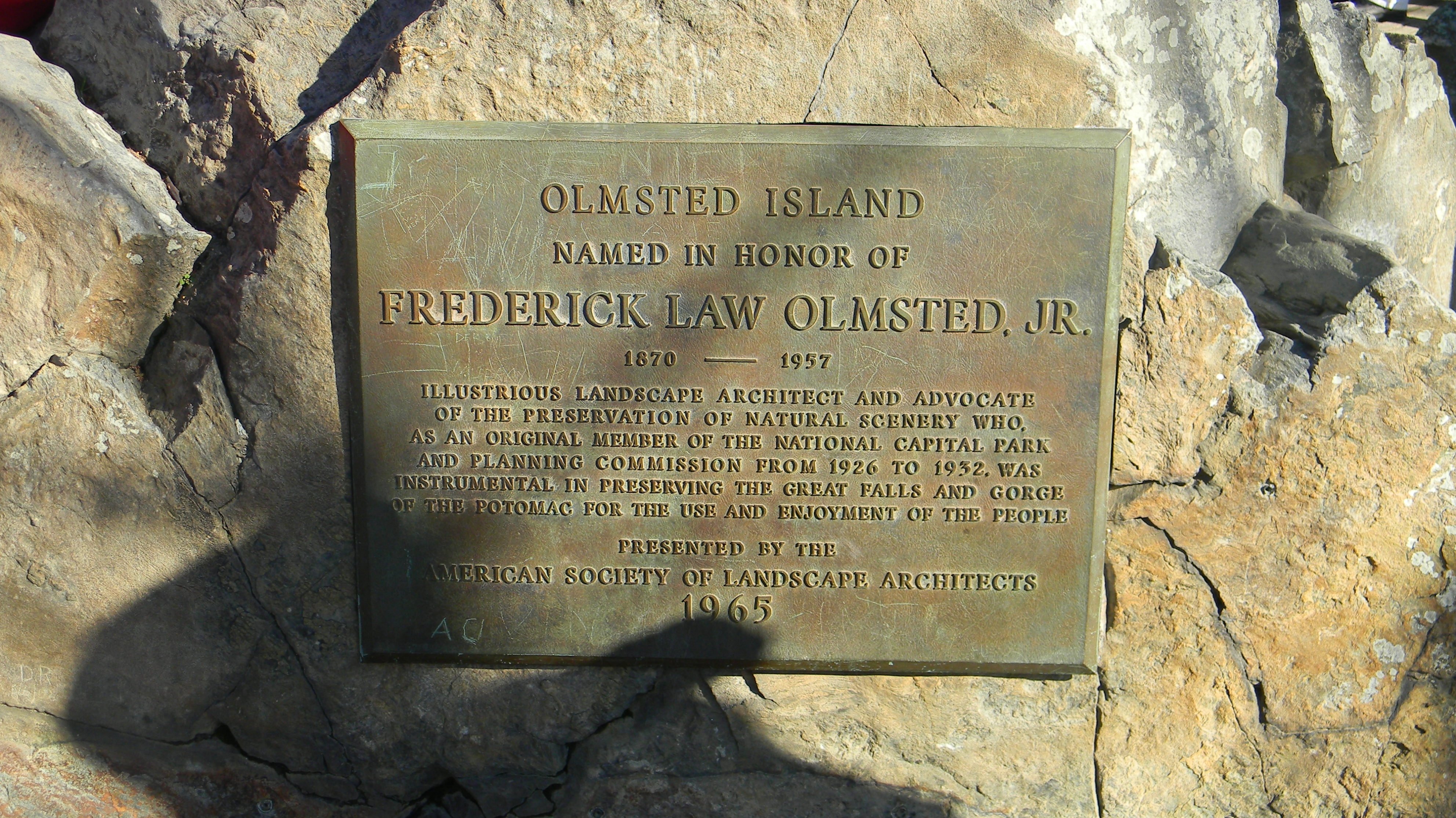 Olmsted Island Marker