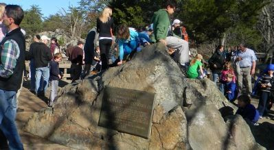 Olmsted Island Marker and sightseers at the Great Falls Overlook image. Click for full size.
