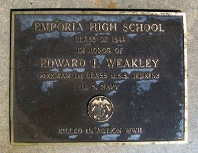 Emporia High School Class 1944 WWII Memorial Marker image. Click for full size.