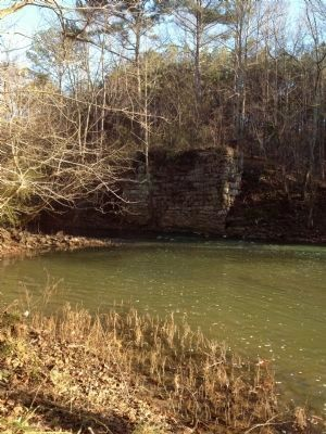 Foundation of old Wesson's mill and remains of dam to left image. Click for full size.
