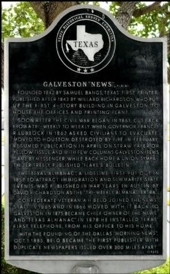 "Galveston ""News,"" C.S.A. Marker image. Click for full size."
