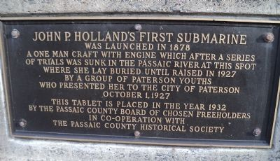 John P. Holland's First Submarine Marker image. Click for full size.