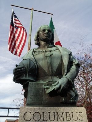 Closeup of Christopher Columbus image. Click for full size.